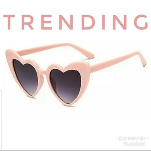 Accessories - PINK Heart Cat Eye Trendy Glam Sunglasses